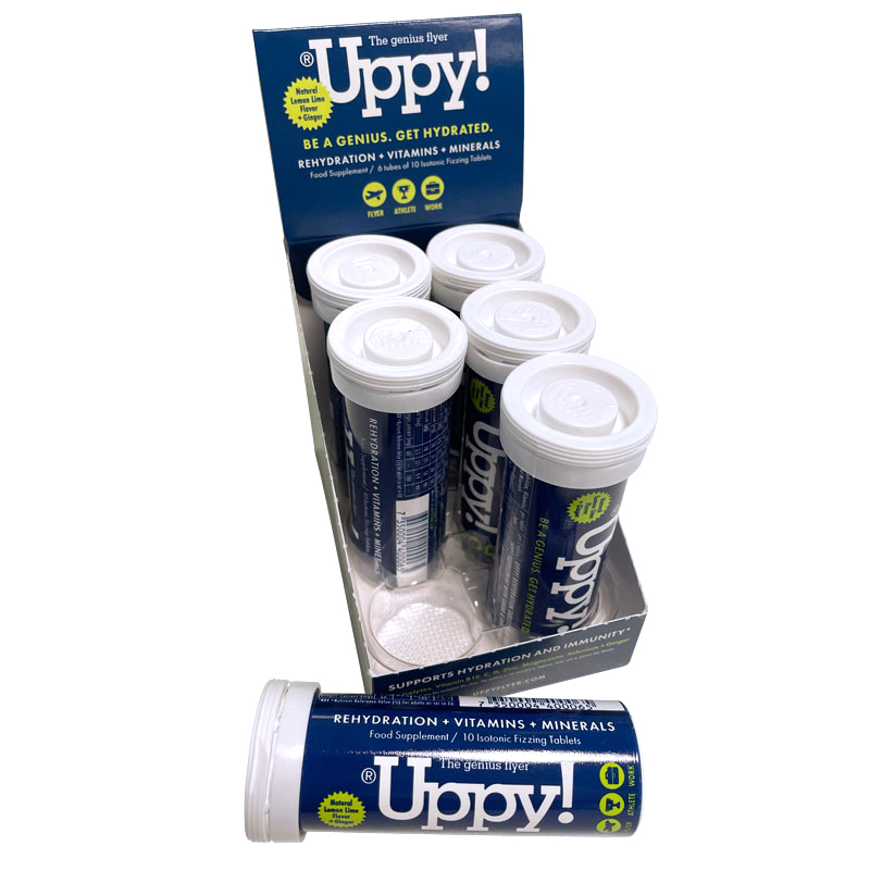 Uppy Flyer 6-pack Hydration tablets display